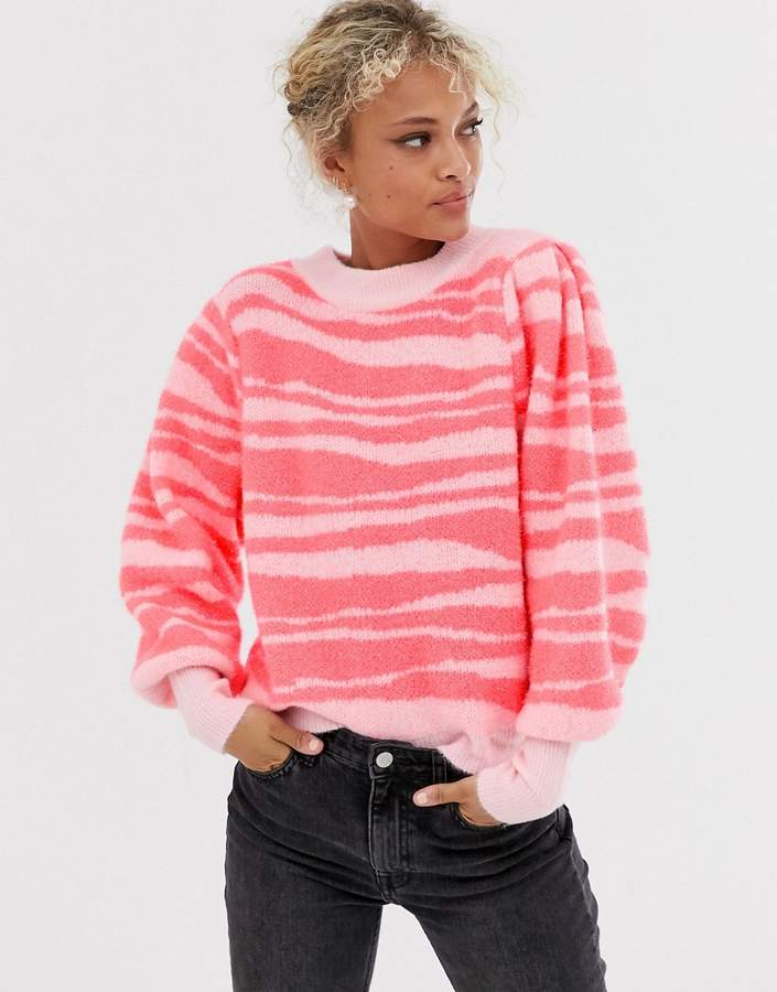 ASOS DESIGN tinsel animal jumper with volume sleeve