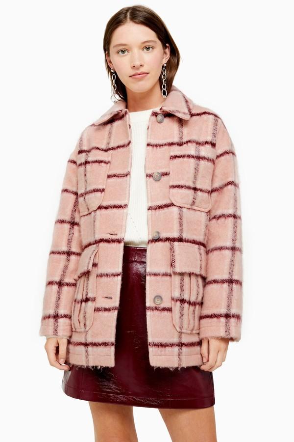 Topshop Womens Pink Check Jacket - Pink