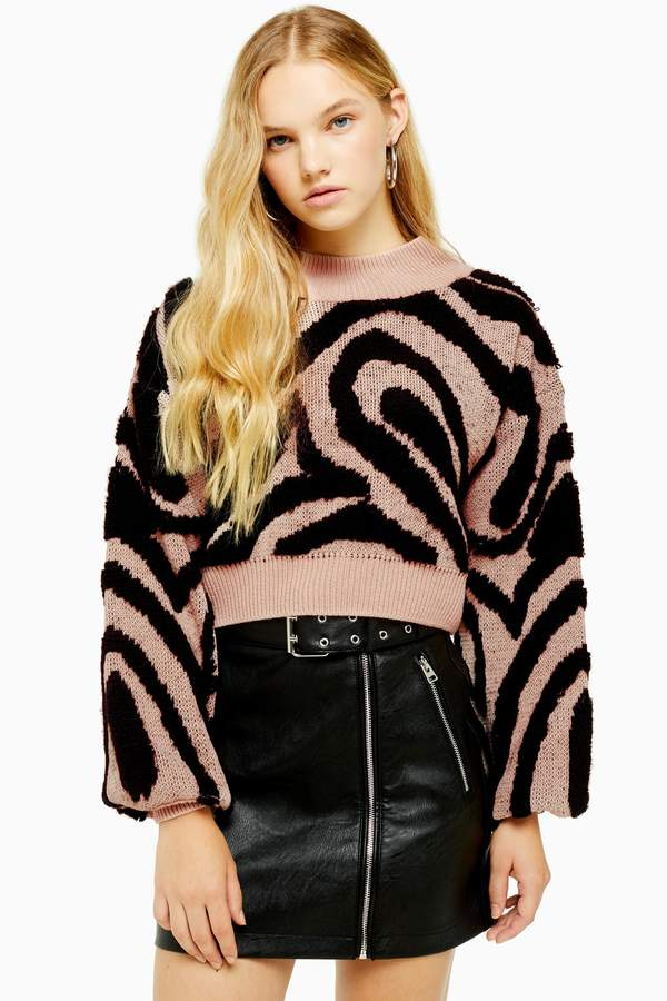 Topshop Womens Pink Knitted Wave Pattern Jumper - Pink