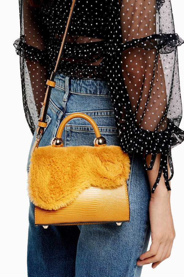Topshop Womens Carmen Mustard Faux Fur Cross Body Bag - Mustard