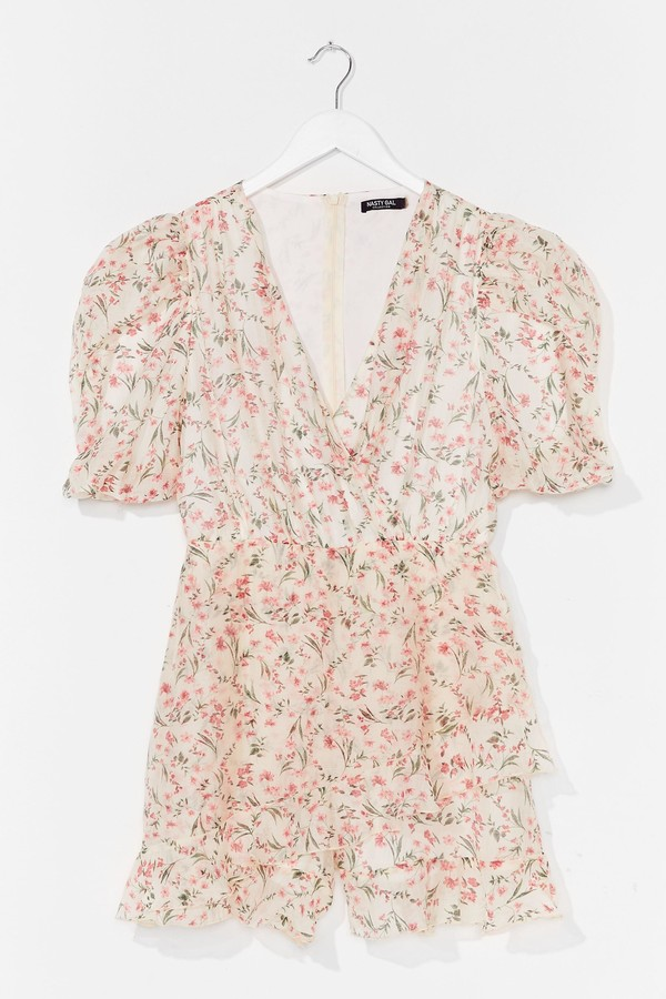 Womens Something to Puff Sleeve in Floral Playsuit - White - 14