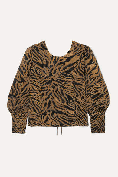 Ganni GANNI - Open-back Tiger-print Georgette Blouse - Brown
