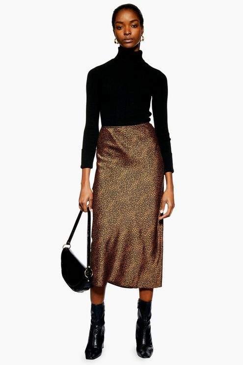 Topshop Womens Petite Spot Animal Satin Bias Midi Skirt - Rust
