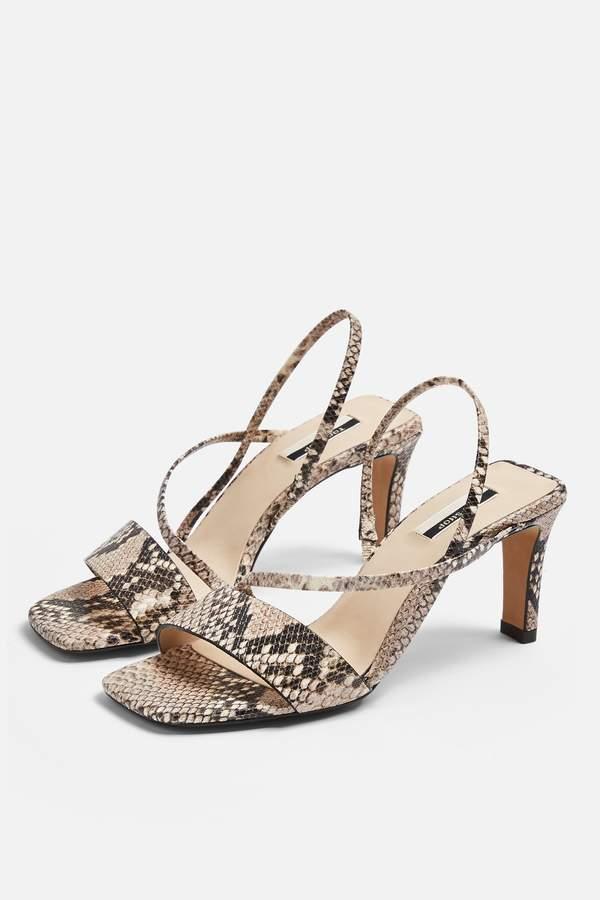 Topshop Womens Nettle Leather Snake Strap Sling Back Heels - Natural