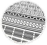 Black & White Geometric Round Beach Towel