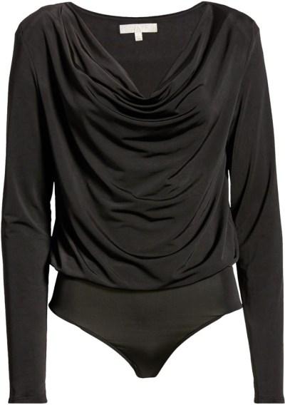 WAYF - cowl neck long sleeve bodysuit   hot Fall 2020 fashion top