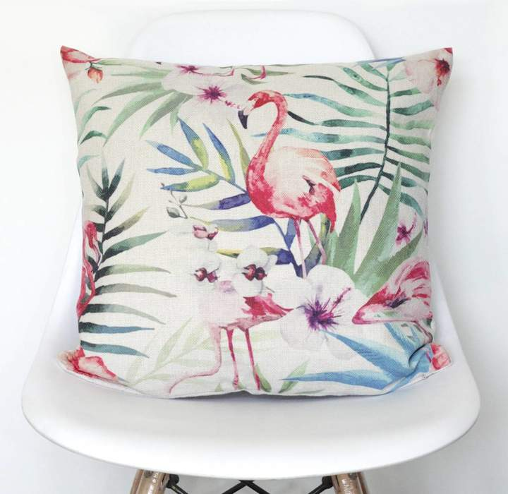 QuirkyBee Tropical Flamingo Print Cushion Cover