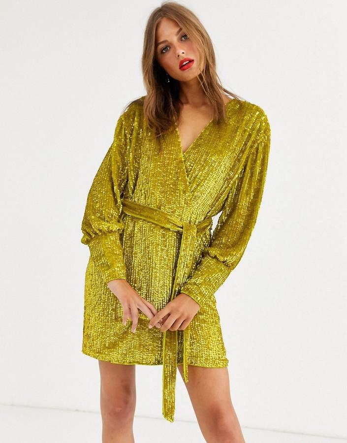 Asos Edition ASOS EDITION sequin wrap mini dress