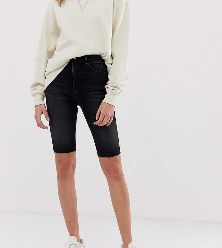 Reclaimed Vintage inspired denim legging shorts in washed black