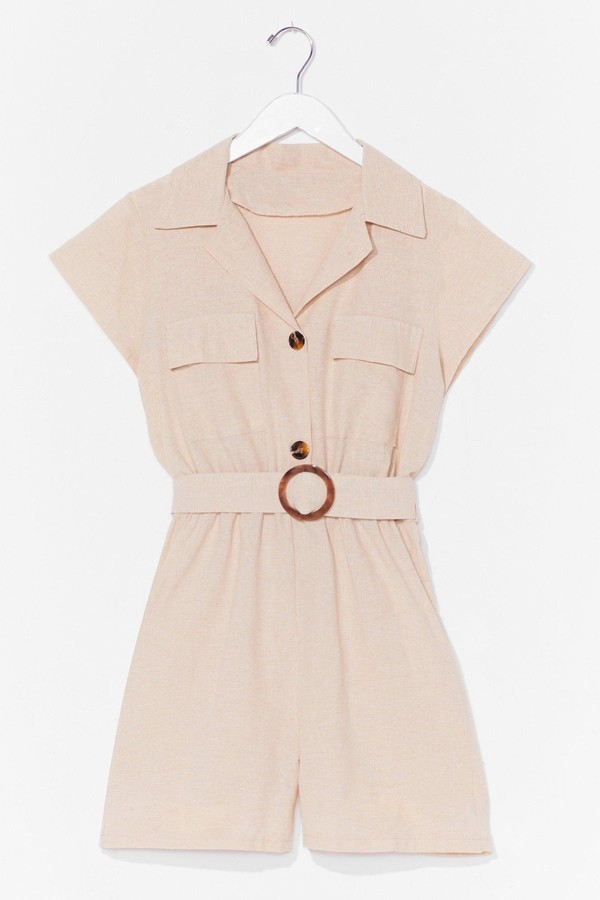 Womens Met You in the Summer Linen Belted Playsuit - Beige - L