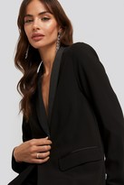 Satin Detail Black Blazer
