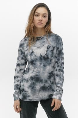 Vans X Sandy Liang Tie-Dye Boyfriend Long-Sleeve T-Shirt - Grey XS at Urban Outfitters