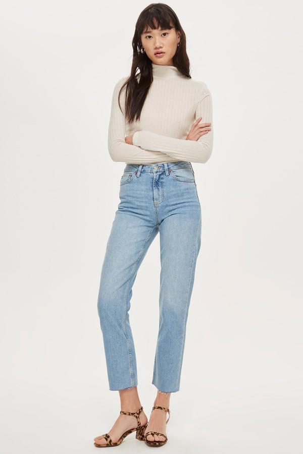 Topshop Womens Bleach Raw Hem Straight Leg Jeans - Bleach Stone