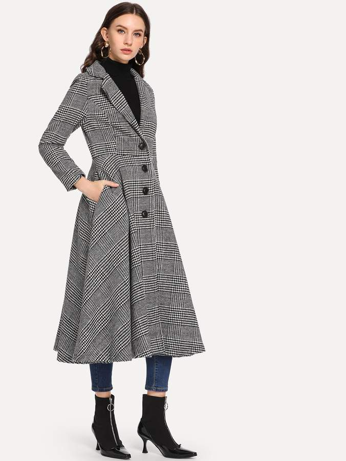Shein Single Breasted Wales Check Coat