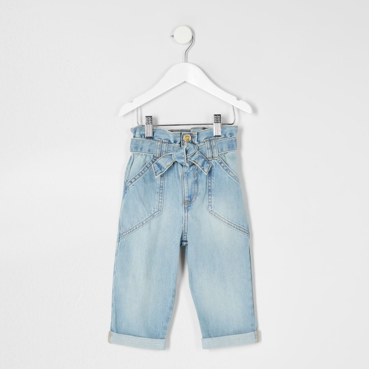 River Island Mini girls Blue paper bag jeans