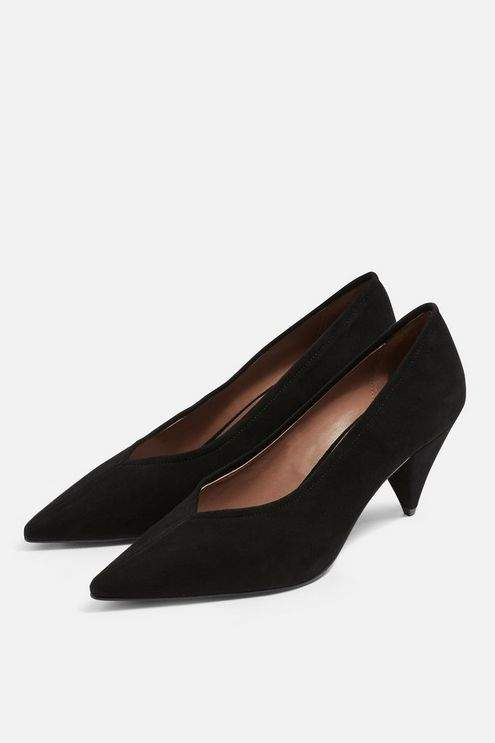 Topshop Womens Jeri Leather Court Shoes - Black
