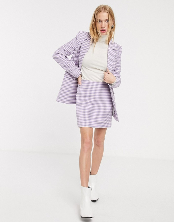 & Other Stories gingham check pelmet skirt in lilac