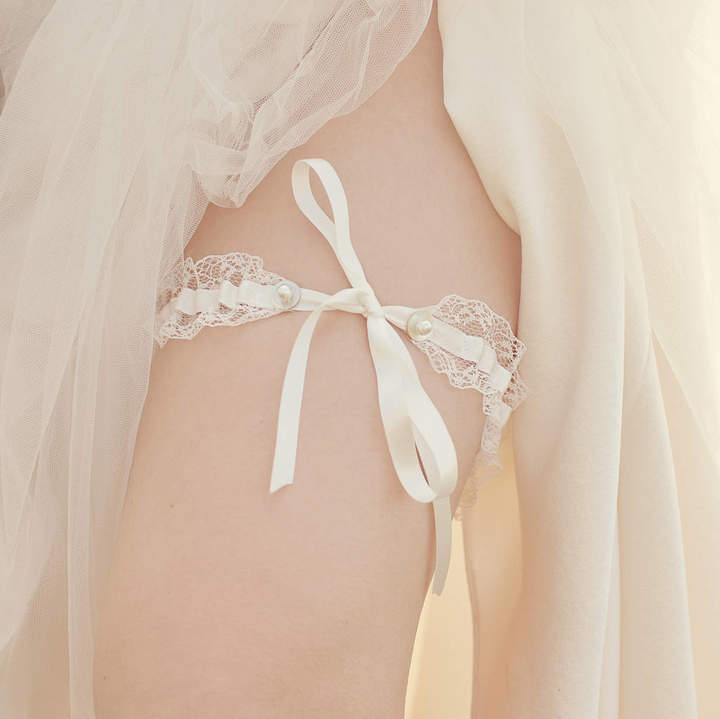 Silver Sixpence in her Shoe Personalised Tie Wedding Garter Gift For The Bride