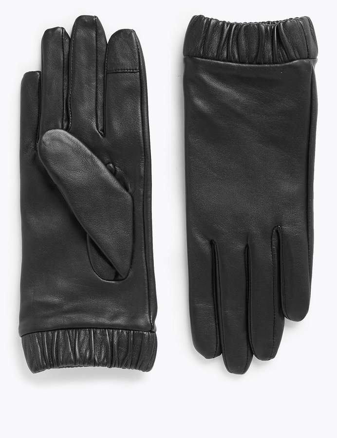 M&S CollectionMarks and Spencer Touchscreen Leather Cuffed Gloves