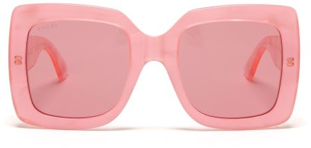 Gucci - Oversized Square Pearlescent-acetate Sunglasses - Womens - Pink Multi