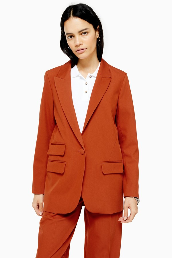 Womens Orange Single Breasted Blazer - Orange