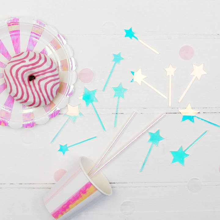 Postbox Party Iridescent Acrylic Star Cake And Canapé Toppers