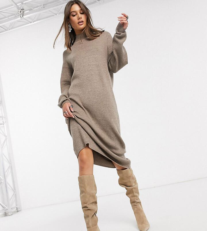 Topshop Tall jumper dress in mink-Tan