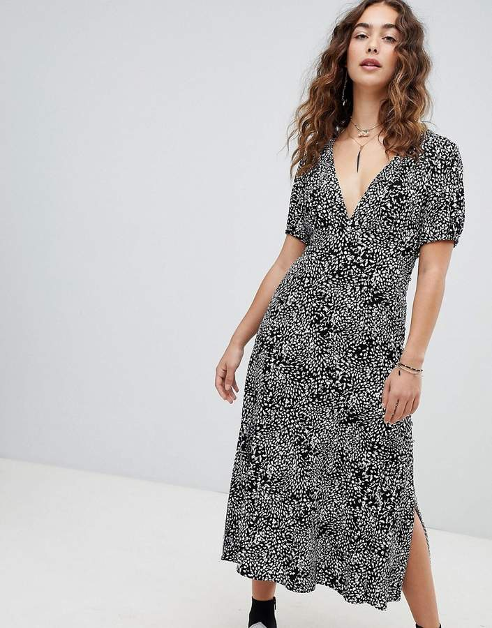 Free People Looking For Love midi dress in animal print