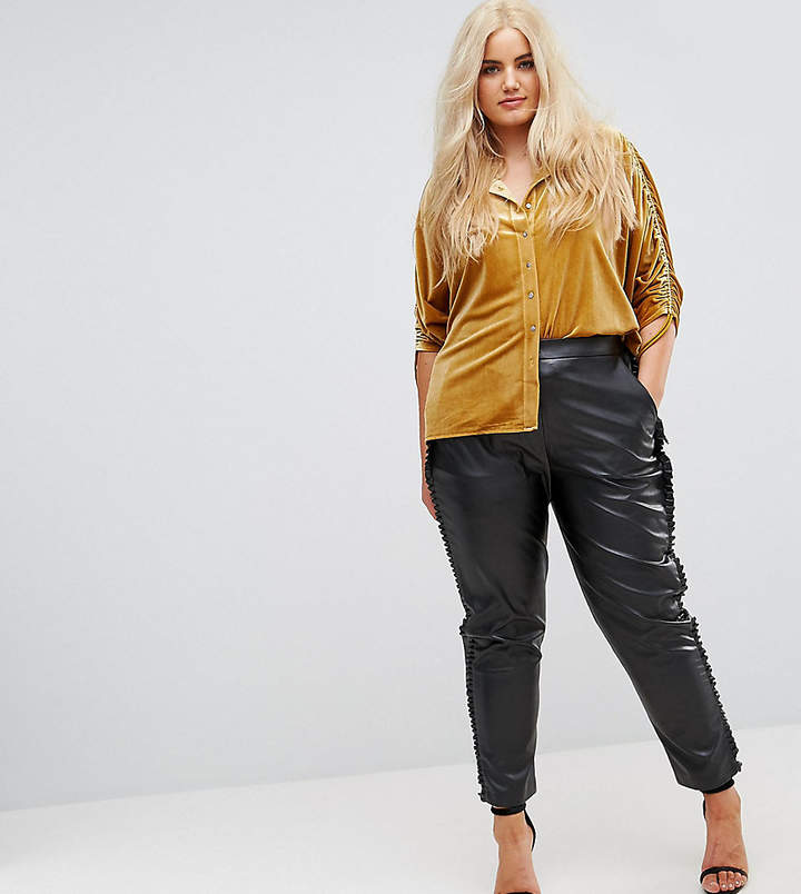 Elvi Faux Leather Cigarette Trouser With Frill Side Detail
