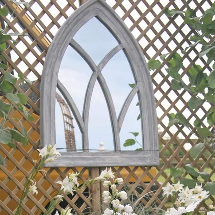 Garden Selections Grey Wooden Gothic Arch Mirror