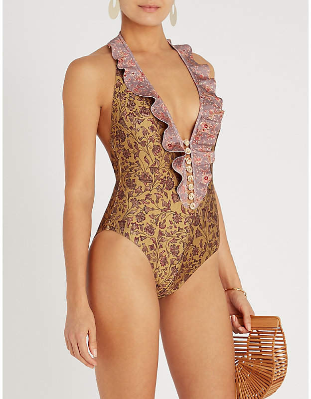 Zimmermann Pink and Brown Floral Juniper Frilled Swimsuit