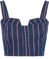 3x1 Tabby Cropped Striped Denim Top