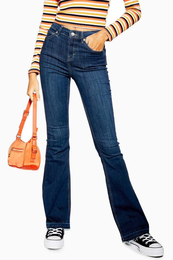 Topshop Womens Indigo Hem Jamie Flare Jeans - Indigo