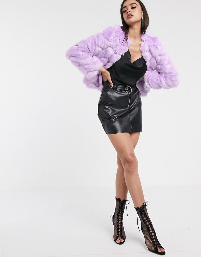 Asos Design ASOS DESIGN chevron textured faux fur jacket in lilac