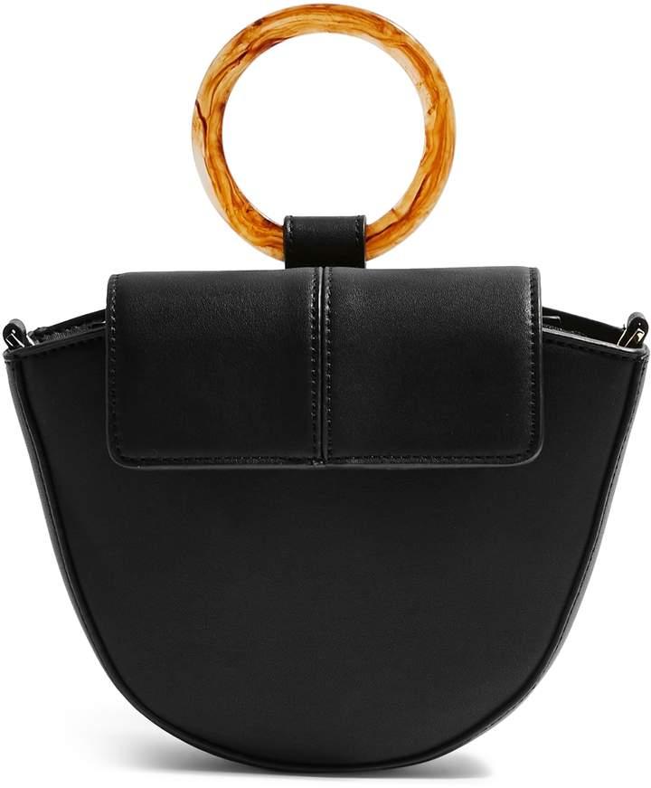 Topshop Gigi Ring Handle Faux Leather Grab Bag