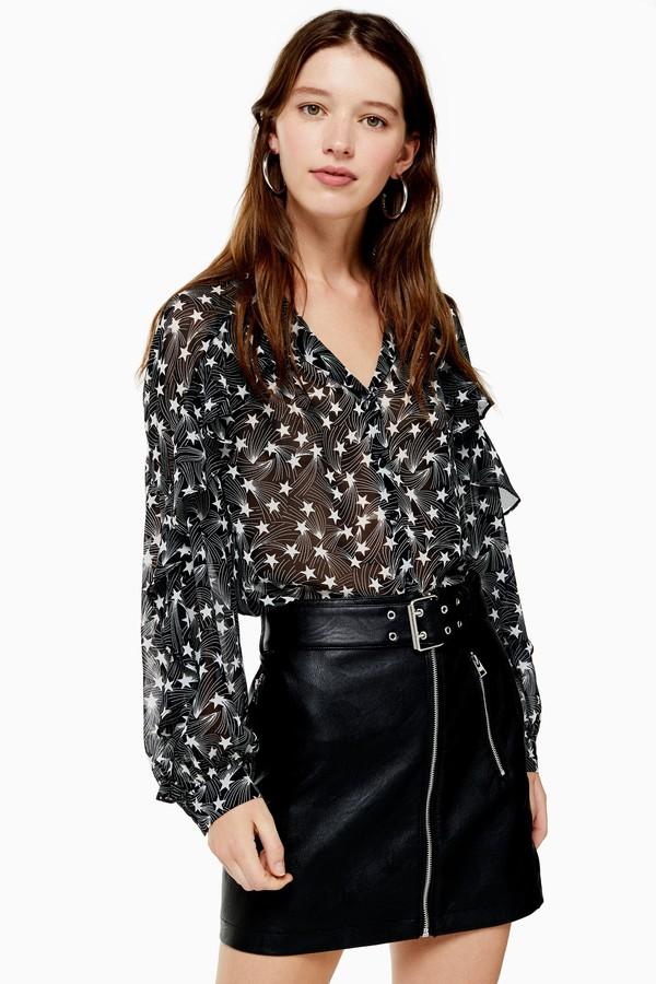 Topshop Womens Black And White Ruffle Star Print Shirt - Monochrome