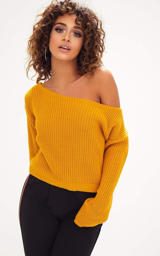 Red Off The Shoulder Crop Jumper