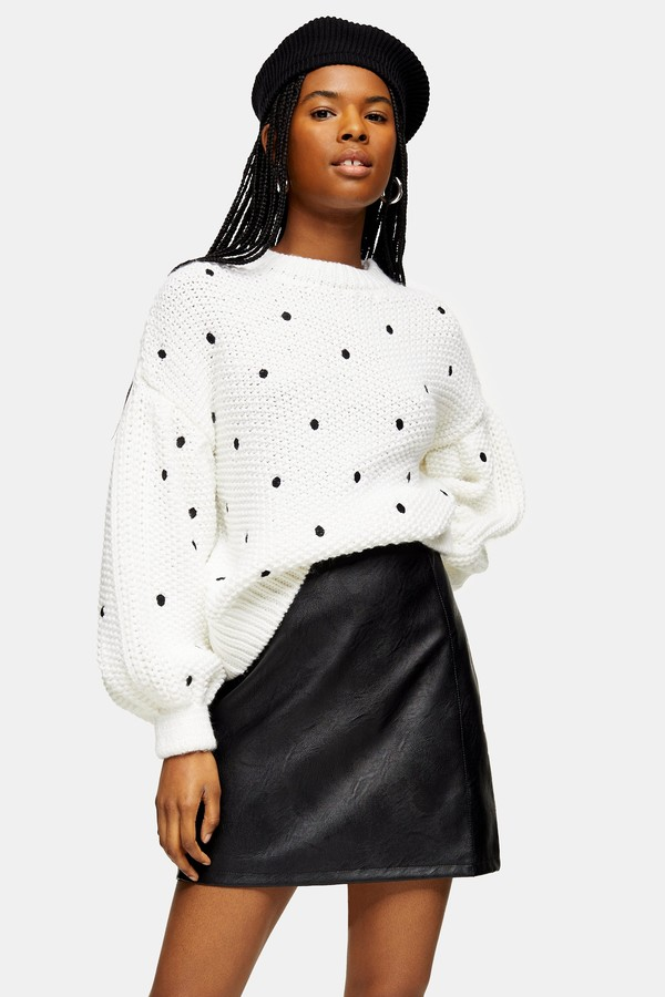 Topshop Womens Ivory Spot Embroidered Jumper - Ivory