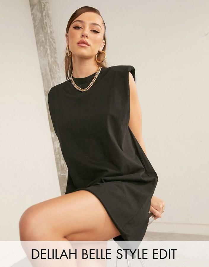 ASOS DESIGN padded shoulder sleeveless mini t-shirt dress in black