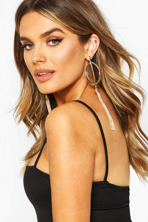 Statement Bar Oval & Tassel Earrings
