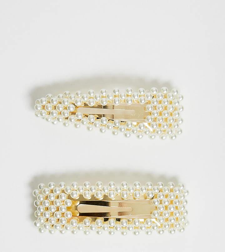Asos Design ASOS DESIGN pack of 2 large pearl snap hair clips-Gold