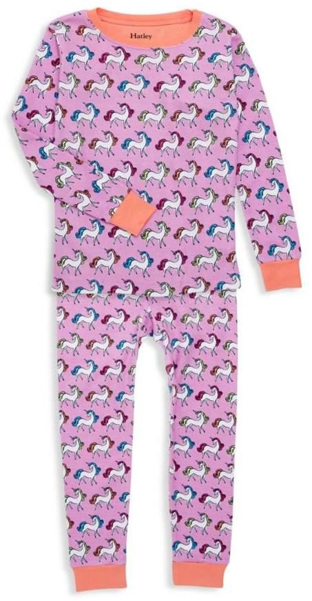 Hatley Little Girl's & Girl's 2-Piece Rainbow Unicorns Organic Cotton Pajama Set