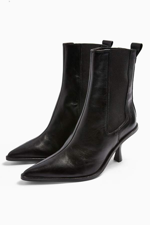 Topshop Womens Madrid Leather Black Chelsea Boots - Black
