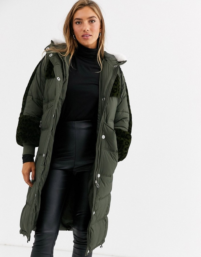 Urbancode longline padded parka with leopard faux fur panels
