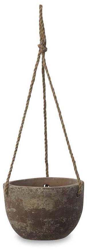 Nkuku - Affiti Hanging Clay Planter - Antique Grey - Large