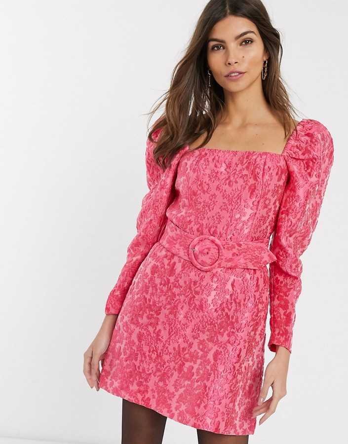 & Other Stories puff sleeve belt detail mini dress in pink floral jacquard
