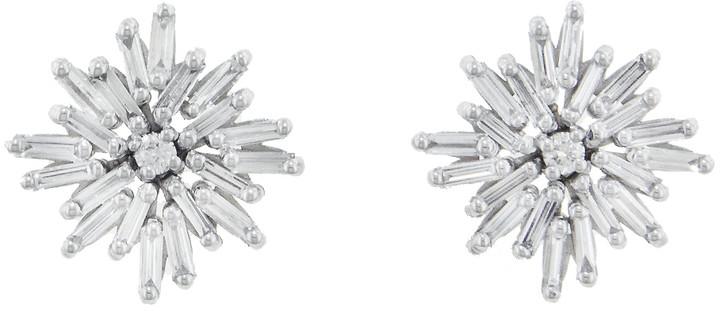 Diamond Firework Stud Earrings - White Gold
