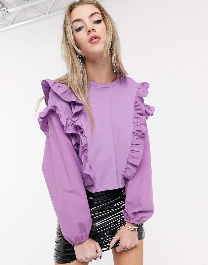 Bershka frill top in lilac