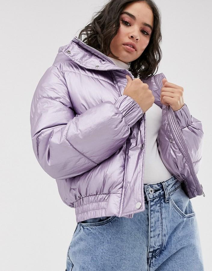 Bershka puffer jacket with hood in metallic lilac