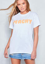 Missyempire Bellamy White Peachy Slogan T Shirt